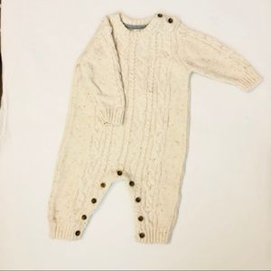 George cream/off white speckled knit jumpsuit 3-6m